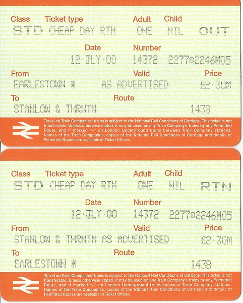 Thought i'd add a couple of tickets that I have picked up over the years <br /> <br /> Dating from July 2000 <br /> <br /> Cheap Day Return <br /> <br /> Stanlow & Thornton to Earlestown
