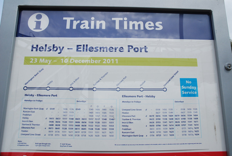 The timetable at Stanlow & Thornton notice in top right hand corner<br /> <br />  NO SUNDAY SERVICE