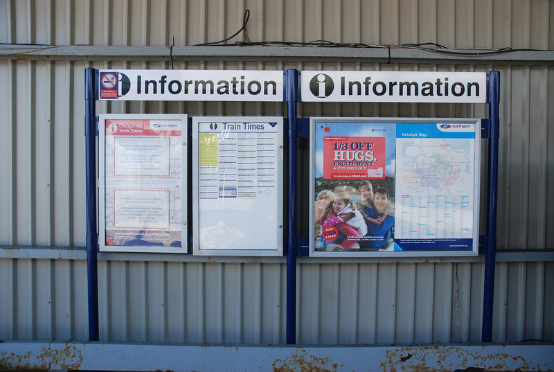 The usual Information boards that you get on Ghost Stations though <br /> <br /> why they bothered with such a big Timetable poster is beyond me <br /> <br /> when it only gets one train a day!!!! although in the Summer they do <br /> <br /> run two trains here a day to connect with the Boat