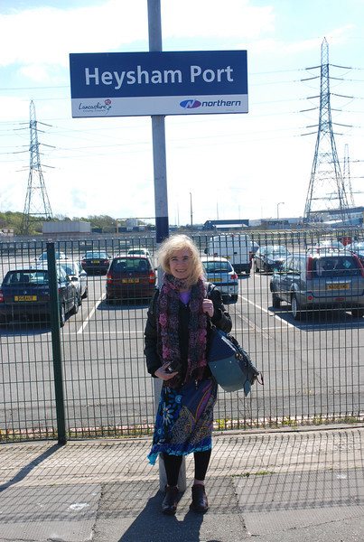 Liz seminar with the Heysham Port sign <br /> <br /> we really didnt know what to expect here it was not what i expected <br /> <br /> at all really it very much like Holyhead staright off the Train staright <br /> <br /> into the Terminal as Liz's pictures show later<br /> <br /> Liz Ghost Station # 8 <br /> <br /> GSM # 30