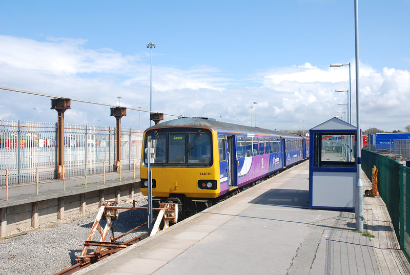 Overall shot of Heysham Port Station taken from the bottom of the <br /> <br /> Platform standing on the Bench