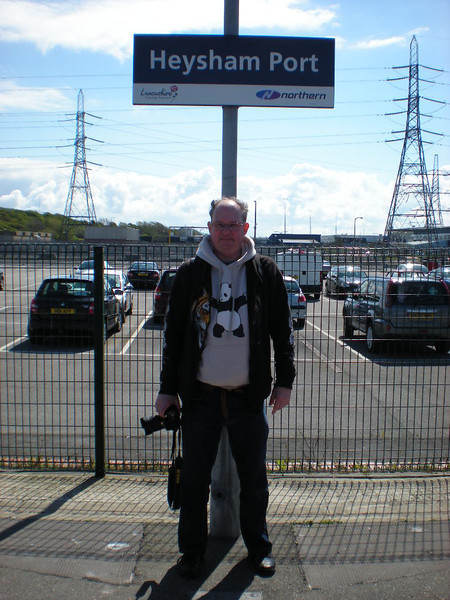 Picture By LIz:<br /> <br /> We couldnt leave Heysham Port with out the usual Station Sign <br /> <br /> seminar picture the Ghost Station Man is seen standing at Journeys <br /> <br /> end Heysham Port