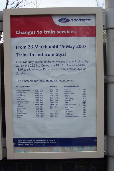 The Timetable for trains at Styal