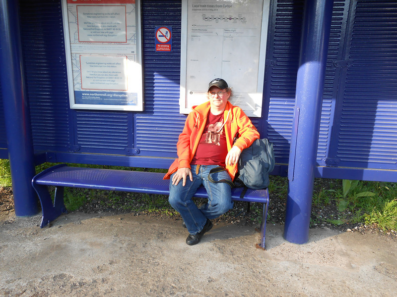 Pic by Liz <br /> <br /> Ghost Station Man checks out the Bench for comfort on the Manchester Bound Platform