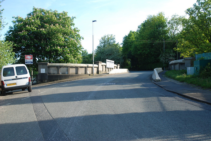 Shot taken in Rake Lane looking back at the Bridge and towards Swinton the access to the Manchester Bound plat is on the right