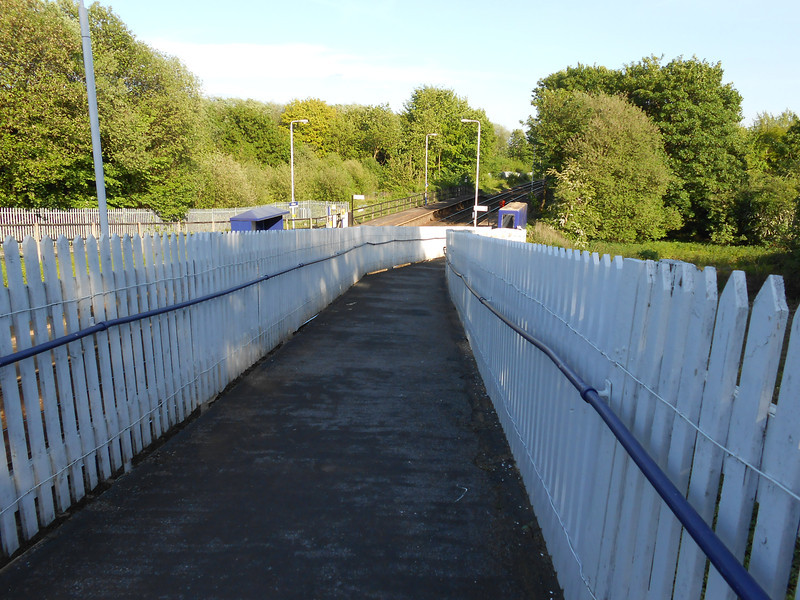 Pic by Liz <br /> <br /> Looking back down the exit ramp at the platforms from Rake Lane