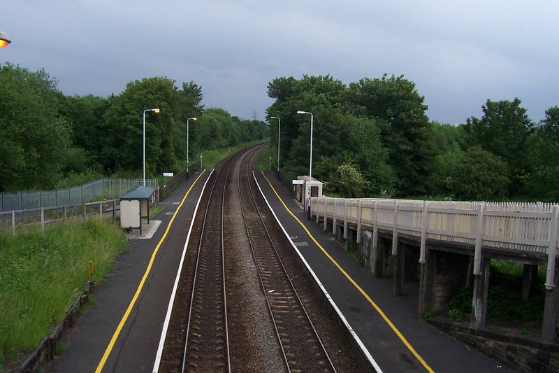 Picture taken from the road over bridge showing the station looking towards Salford Crescent