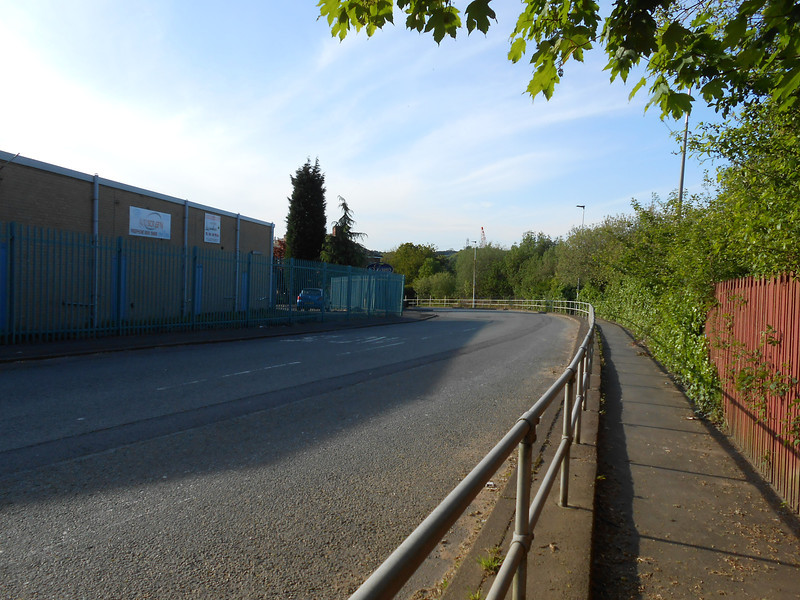pic by LIz <br /> <br /> Rake Lane curves away from the station and round the bend to an Industrial estate