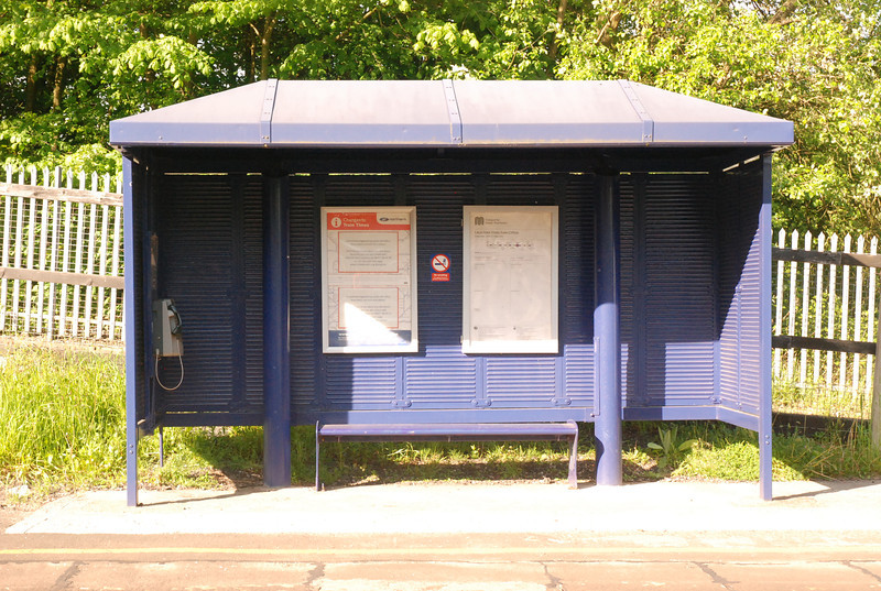 The waiting Shelter on the Manchester Bound platform