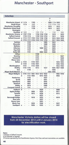 The 17th May was the last day of the Winter Timetable and also the <br /> <br /> Last day that 2F89 17.36 Manchester Victoria - Wigan Wallgate <br /> <br /> stopped at Clifton in these timings because in the new timetable it <br /> <br /> leaves at 18.10 off Manchester Victoria <br /> <br /> New to Smugmug?? <br /> <br /> To read the print clearly / make picture bigger : <br /> <br /> Best way to read it if you new to Smugmug<br /> <br /> Put your mouse pointer over centre of pic and <br /> <br /> double click which blows it up. <br /> <br /> Then in the Bottom RIGHT hand corner <br /> <br /> there is a RESIZE BUTTON so select size you want. <br /> <br /> To cancel and come back just click the big X in top right hand