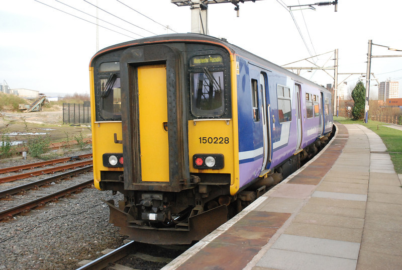 150 228<br /> <br /> Location<br /> <br />  Ardwick <br /> <br /> Date:<br /> <br />   16th March 2009<br /> <br /> working: 17.03 Manchester Piccadilly to Marple<br /> <br /> The above shows the 150 as it waits time at Ardwick.  Ardwick only <br /> <br /> gets a service in the morning and evening peaks and even then it <br /> <br /> only 2 trains when i did it although loads of trains stop here held at<br /> <br /> signals waiting to get into the maze that is the route into Piccadilly