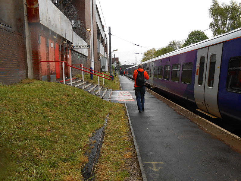 Picture by Liz <br /> <br /> Ghost Station Man is caught walking along the now deserted <br /> <br /> platform heading to the Manchester Piccadilly end