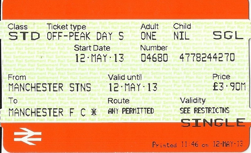 Single ticket <br /> <br /> Manchester Piccadilly - Manchester United Platform