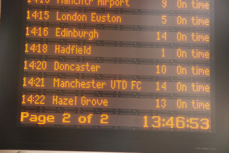 Close up of the Departures board at Manchester Piccadilly plat 13 / 14