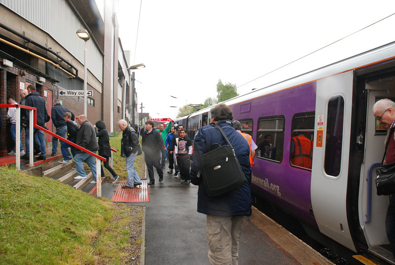 another shot of the Fans departing the train and heading into the ground