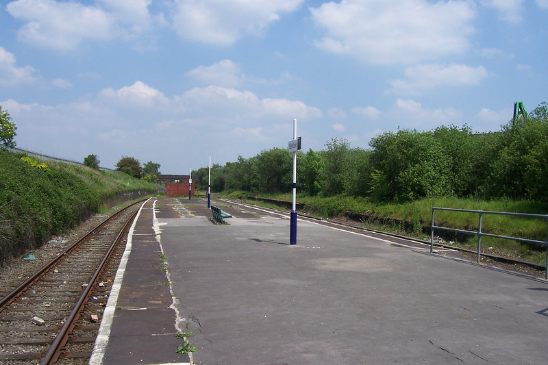 Here at Denton the track is double this shot is looking towards Guide <br /> <br /> Bridge as you can see there is'nt much here typical Ghost station <br /> <br /> another pic from 2006