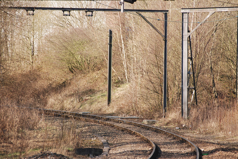 Close up of the Denton Line while waiting for the train to arrive