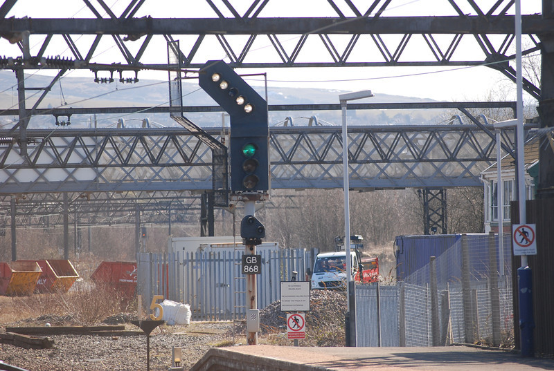 Signal GB 868 pulled off with the arm indicating the route towards <br /> <br /> Stalybridge