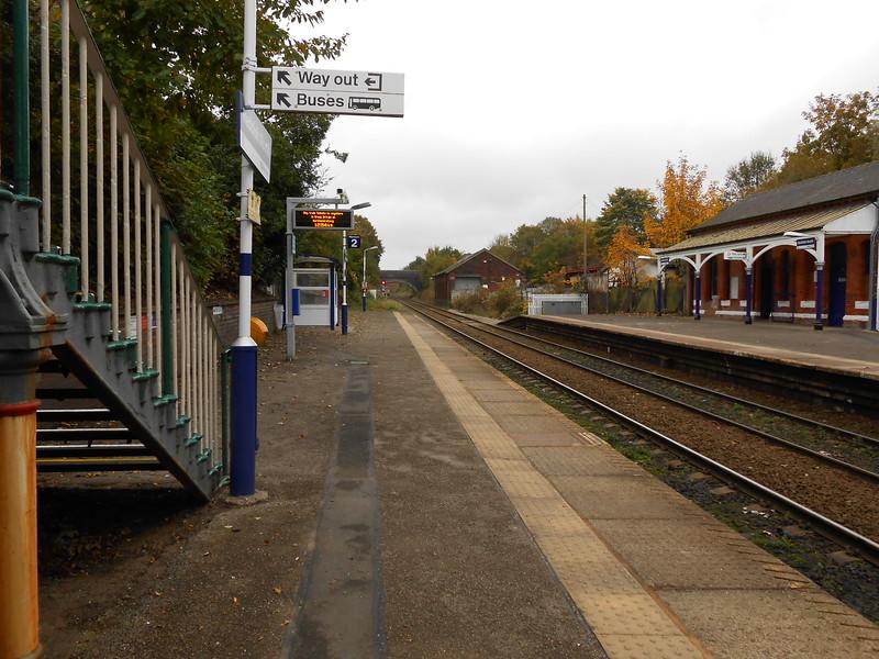 pic by Liz <br /> <br /> shot taken from the Brinnington bound Platform taken from under <br /> <br /> the footbridge looking towards Brinington