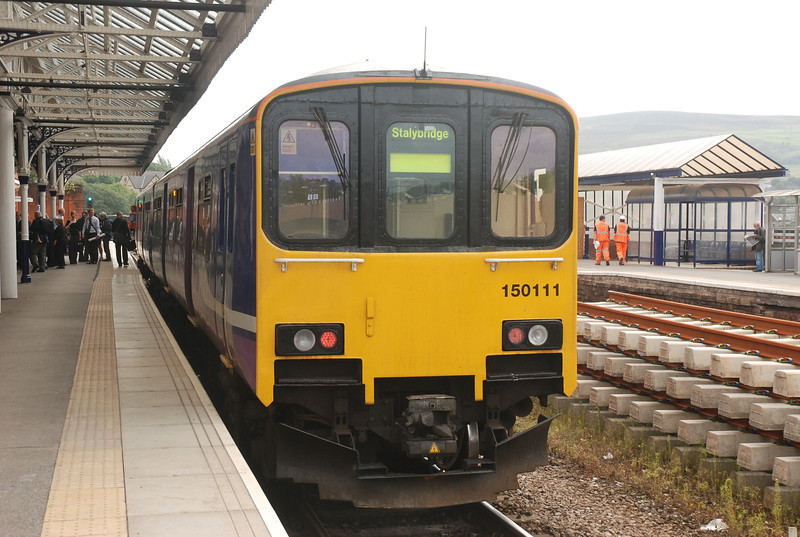 front on of 150111 <br /> <br /> at journeys end Stalybridge <br /> <br /> 3rd Aug 2012