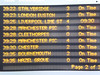 The display at Stockport showing the one train a week to Stalybridge