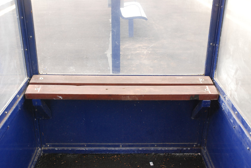 Bench seat inside shelter