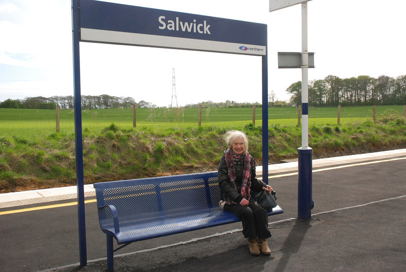Liz try's out the bench at Salwick