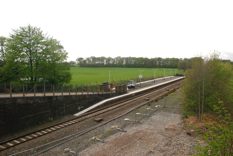 Shot taken from the Bridge outside the station showing the Preston Bound Platform