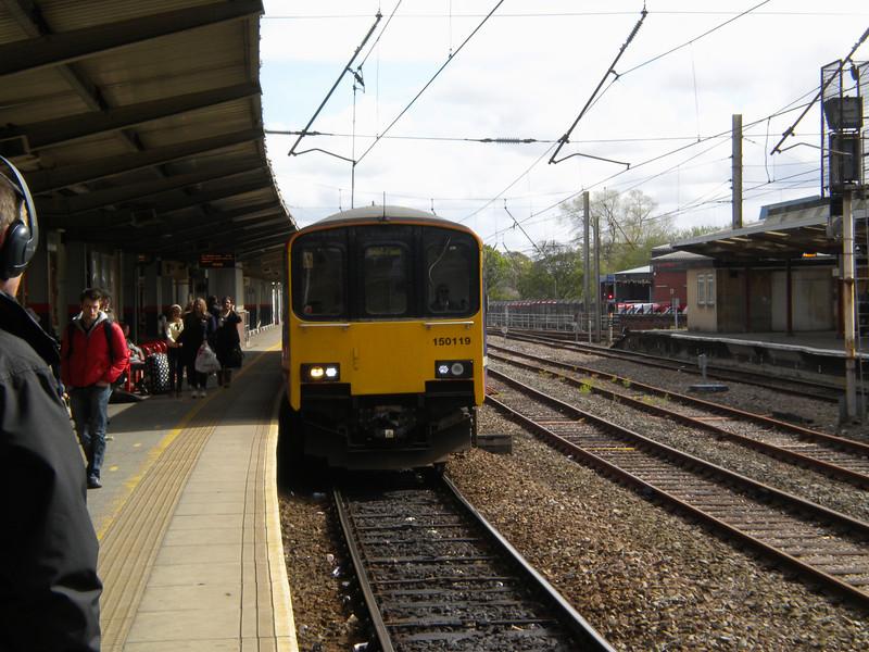150 119 <br /> <br /> Arrives plat 1 <br /> <br /> Preston <br /> <br /> working 2S19 14.50 Colne - Blackpool South <br /> <br /> 16.01 off Preston <br /> <br /> Next Stop Salwick