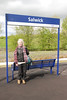 And as usual we couldn't leave Salwick with a shot for the Record <br /> <br /> that we had been there Liz posses by the station sign<br /> <br /> Ghost Station # 16 for Liz