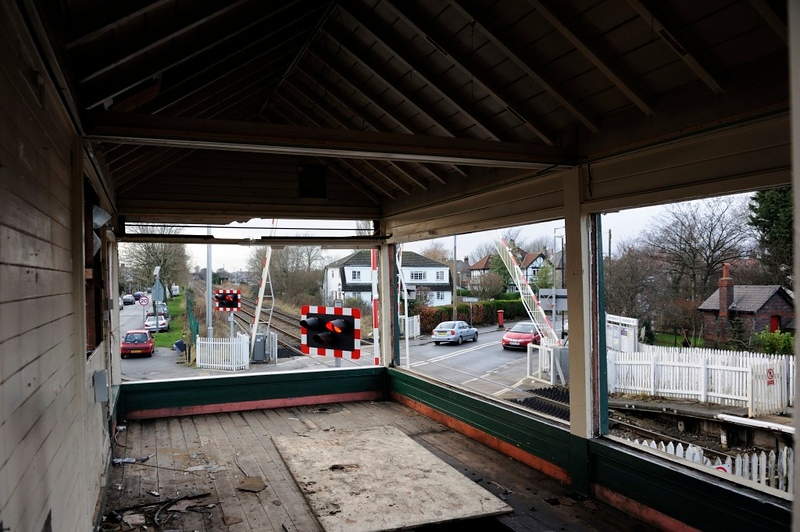Bare Lane signalbox, Morecambe, Wed 15 January 2014 3.  The barriers drop.  They are now controlled by Preston power box.