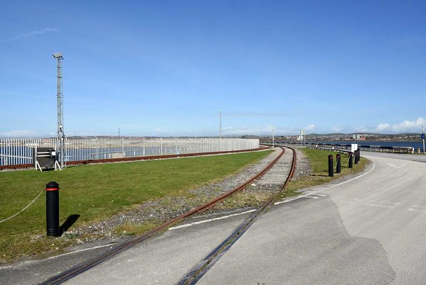 Ramsden dock branch, Barrow-in-Furness, 14 March 2017 8.  Looking north east from the maritime terminal.  Ramsden dock is at left and Cavendish dock is at right.  The further line leads into the maritime terminal; the nearer line is a headshunt.