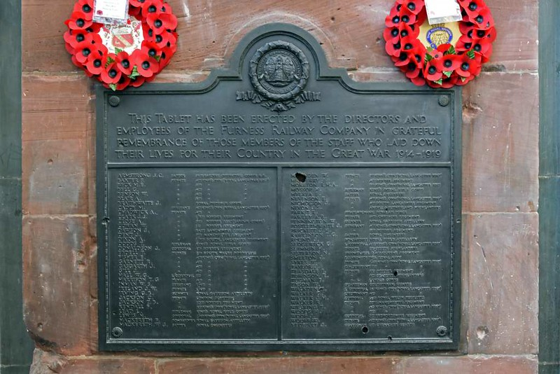 Furness Railway memory 2: First World War memorial, Barrow-in-Furness station, 14 March 2017.  Showing the damage caused when Central station was bombed in 1941.