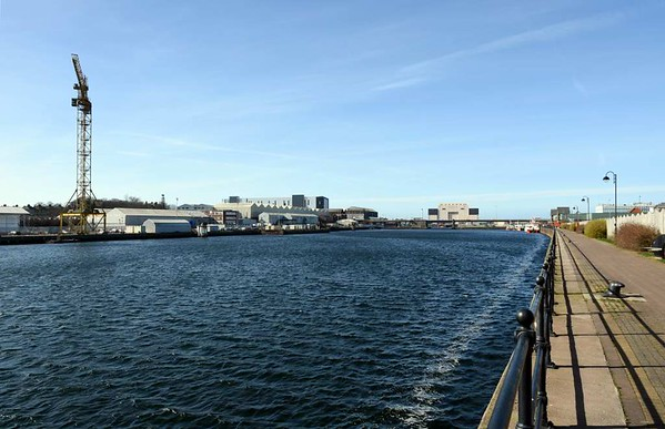 Buccleuch dock, Barrow-in-Furness, 14 March 2017 1.  Looking north west towards Devonshire dock.