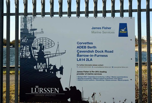 Ramsden dock branch, Barrow-in-Furness, 14 March 2017 7.  The covettes mentioned on this James Fisher Marine Services sign may refer to three offshore patrol vessels built by BAe Systems at Scoutstoun for the Royal Brunei Navy who decided not to accept them despite, after a dispute, having paid £600 million for them. They were laid up for sale at this Barrow berth from 2007, eventually joining the Indonesian Navy in 2014.
