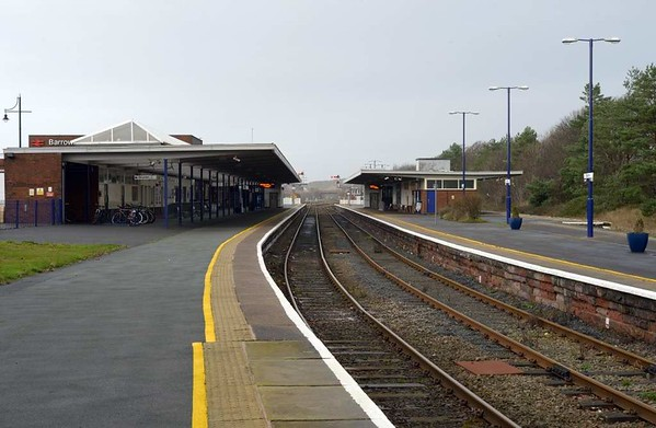 Barrow-in-Furness station, 1 December 2015 1.  Looking north west.  The station is still mechanically signalled.