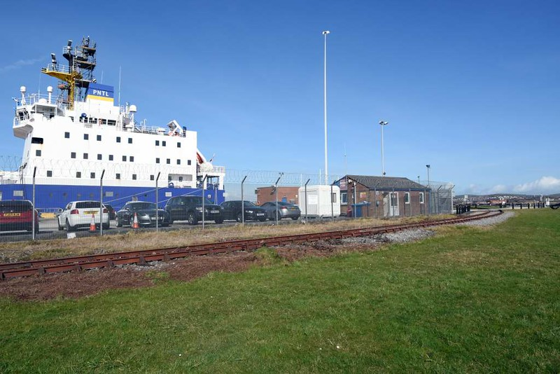 Ramsden dock branch, Barrow-in-Furness, 14 March 2017 11.  The headshunt runs outside the maritime terminal.