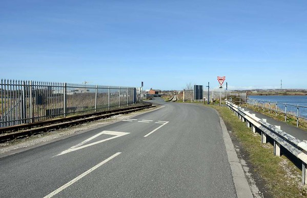 Ramsden dock branch, Barrow-in-Furness, 14 March 2017 6.  Looking north with Cavendish dock at right.