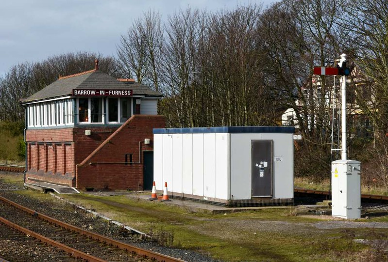Barrow-in-Furness signal box, 14 March 2017.  The box was built in 1907 and still uses the original, now unique, F W Atkinson frame.