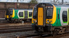 350259 & 350101, Crewe, 16 September 2009 - 1739     Simultaneous London Midland arrivals: 259 with a terminating service from Euston, and 101 with a New Street- Lime Street service.