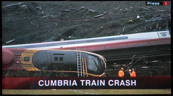 390033 City of Glasgow, 1S83, Grayrigg, Sat 24 February 2007 1 - 1000.  The stricken Pendolino the morning after it had derailed at 95mph on faulty points.  It had been working VWC's 1715 Euston - Glasgow.  One passenger was killed.  28 passengers, the driver and another crew member were seriously injured and 58 passengers received minor injuries.  The remaining 18 passengers and two crew members were not physically injured.