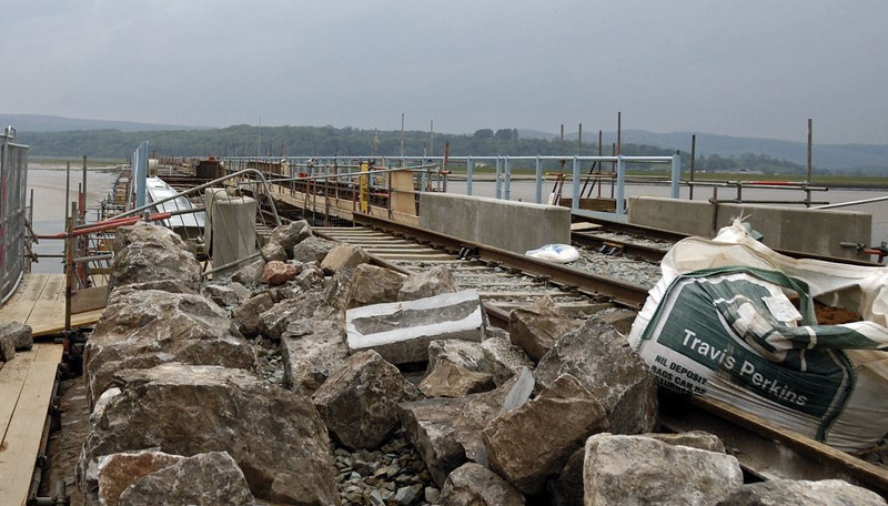 Arnside Viaduct rebuilding, Sat 7 May 2011 5: Looking west from the eastern end.