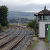 Arnside signalbox, Mon 18 July 2011.  The cross-over that used to be adjacent to the box has been removed.