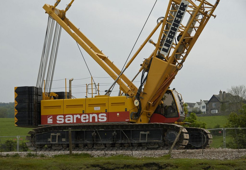 Arnside, Sat 7 May 2011 8: Liebherr crane.    The German crane was on hire from Sarens of Belgium.