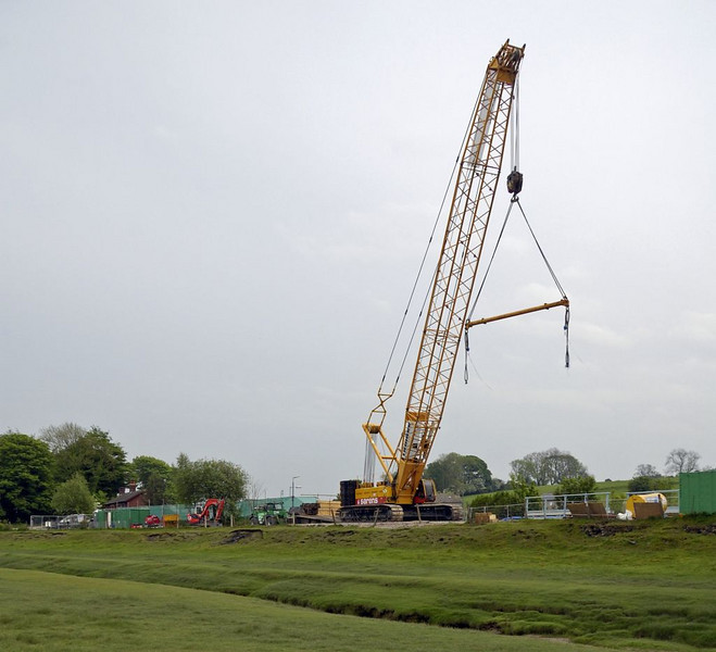 Arnside, Sat 7 May 2011 7: Liebherr crane.  It had arrived on site on 5 May, when it was erected by a Kirow crane.
