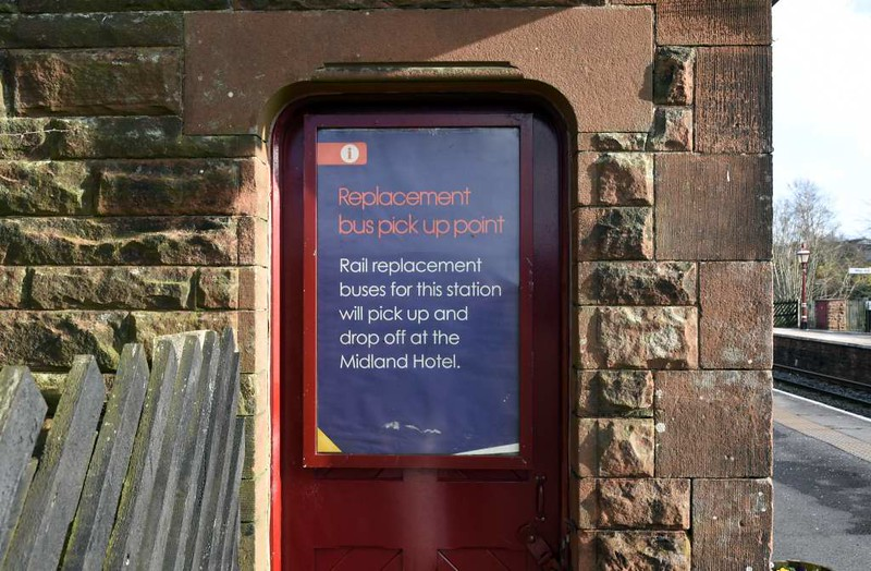 Lazonby & Kirkoswald station, 23 March 2017 5.  Rail replacement bus stop.