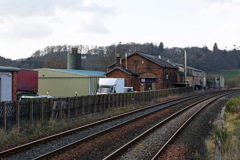 Lazonby & Kirkoswald station, 23 March 2017 6. Looking north towards Armathwaite. The former goods yard and shed are now in use by Bell's of Lazonby bakery.