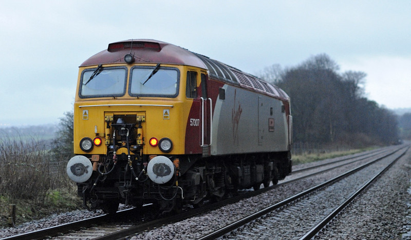 57307 Lady Penelope, 0C99, Hoghton, Tues 24 January 2012 - 0825.  A Preston - Settle - Carlisle route learner heads away from the camera.