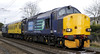 37606 & 37059, 2Z88, Carnforth, Thurs 26 January 2012 - 1142.  A Falkland (Ayr) - Derby move with defective track inspection coach 999508.