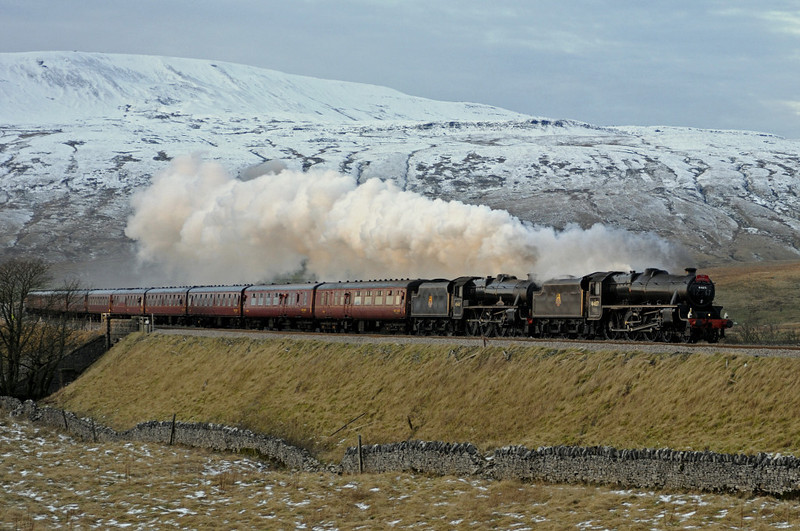 44871 & 45407 The Lancashire Fusilier, 1Z68, Ribblehead, Sat 28 January 2012 - 1626 1.  The Black 5s run off the viaduct with the return leg of the Rly Touring Co's Manchester - Carlisle Winter Cumbrian Mountain Express.